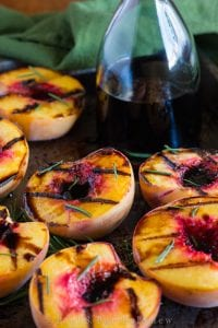 Grilled Peaches w/ Balsamic & Rosemary